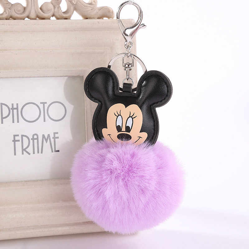 แฟชั่นน่ารักขนปุย Mickey Mouse พวงกุญแจ Faux กระต่าย Fur Ball Pom Pom Key Chains กระเป๋า Charms Trinket รถพวงกุญแจของขวัญ