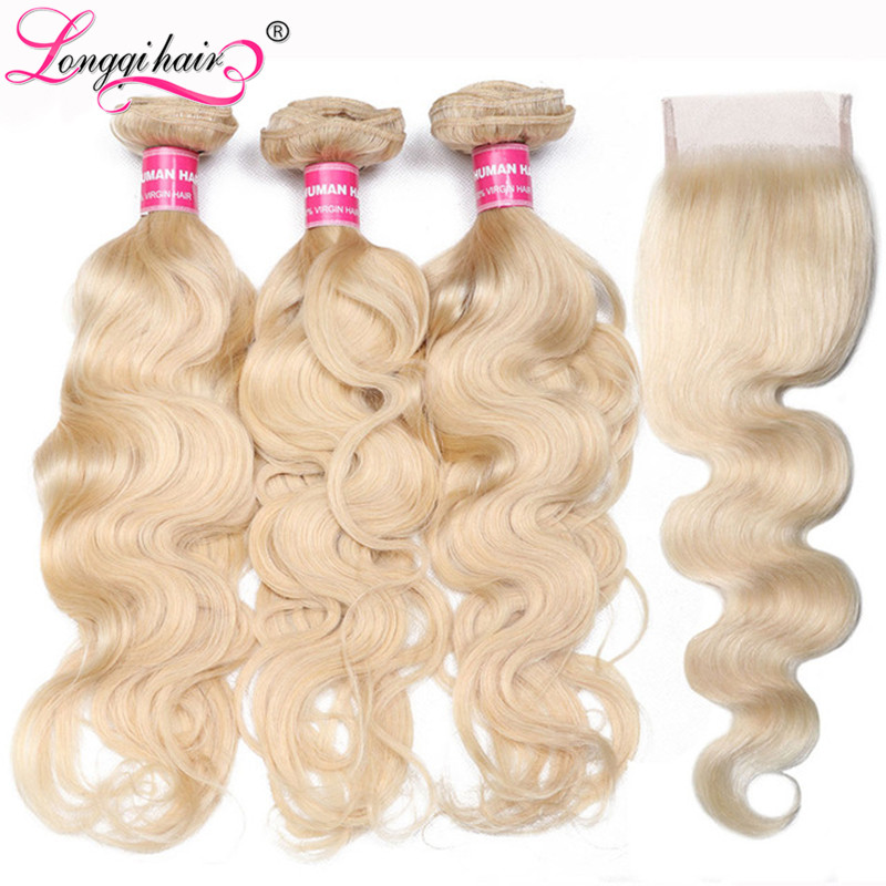 Longqi 613 Honey Blonde Bundles With Closure Body Wave Brazilian Hair Weaves 4x4 Blonde Bundles With Closure  Remy Human Hair