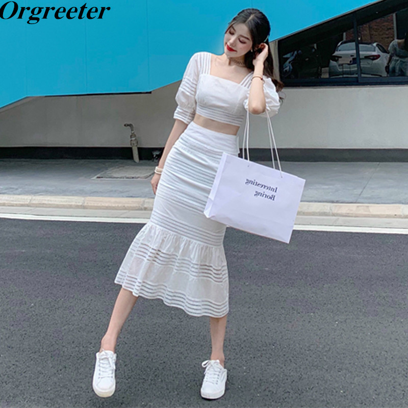 Separate Sales Hollow Out Crop Tops + Lace Up Mermaid Skirt 2 Piece Set Women Sexy Backless Puff Sleeve Top And Long Skirt Set