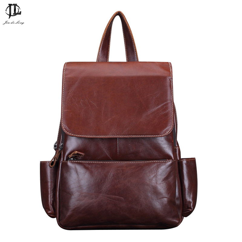 Brand New 100 Oil Wax Genuine Leather Women Outing Travel fashion font b Backpack b font