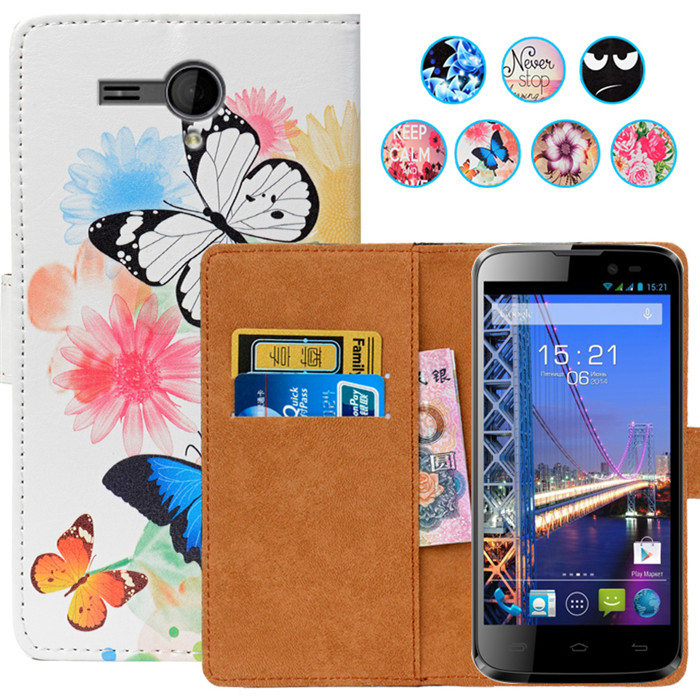 Floral Print Wallet Case For Fly IQ4502 ERA Energy 1 Case 5.0 PU Leather Case Coque Back Cover Leather Holder protector Case