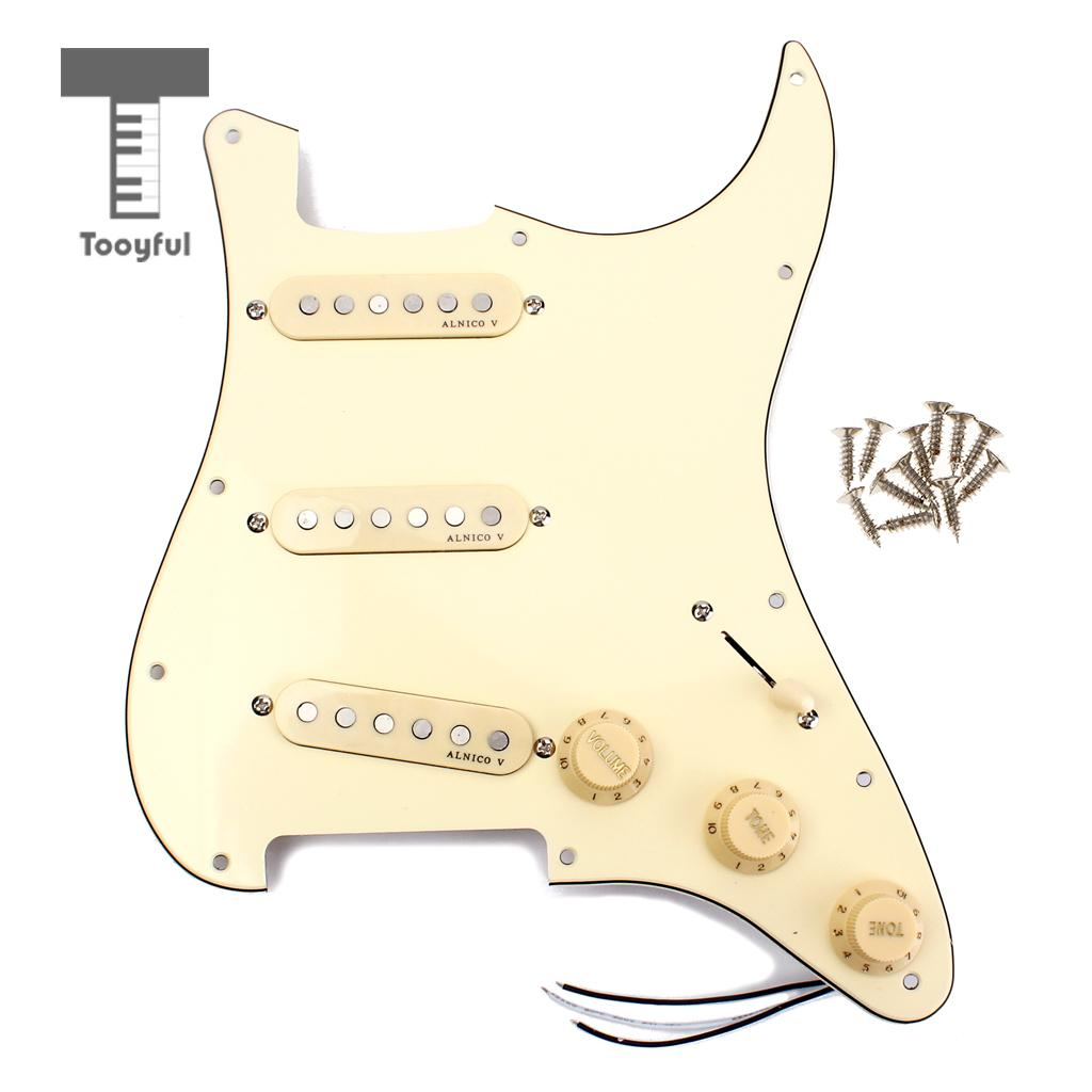 Tooyful High Quality Classic Prewired Loaded SSS Pickguard Cream Yellow Screw Alnico V Pickup for ST Single Coil Electric Guitar tsai hotsale vintage voice single coil pickup for stratocaster ceramic bobbin alnico single coil guitar pickup staggered pole