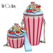 Милые Мультяшные женские Мини-Сумки из искусственной кожи с изображением мороженого и кекса, маленький клатч на цепочке, сумка через плечо для девушек