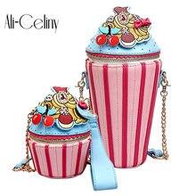 06302ada50368 2018 Cute Cartoon Women Ice Cream Cupcake Mini PU Leather Bags Small Chain Clutch  Crossbody Girl Shoulder Messenger Bag