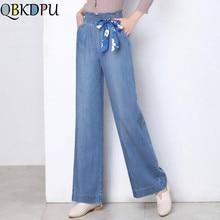 Женские джинсы больших размеров 4XL из Tencel, повседневные свободные джинсы с высокой талией и широкими штанинами, эластичные Широкие штаны с бантом на талии, летние джинсовые штаны для мам