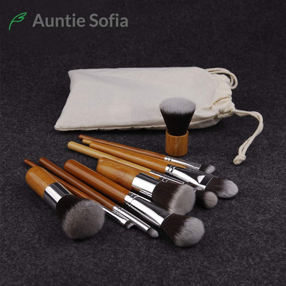 6/11pcs/set Natural Bamboo Makeup Brushes Kit with Bag Professional Cosmetic Eyeliner Brush Soft Kabuki Foundation Blending Tool