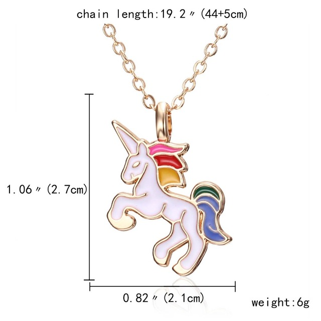 Cute Necklace with Colorful Unicorn Pendant