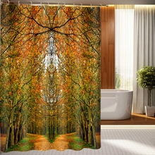 Nature 3D Shower Curtains Woods Peach Blossom Bathroom Curtain Waterproof Thickened Bath Curtain Customizable flowers blossom waterproof bath curtain