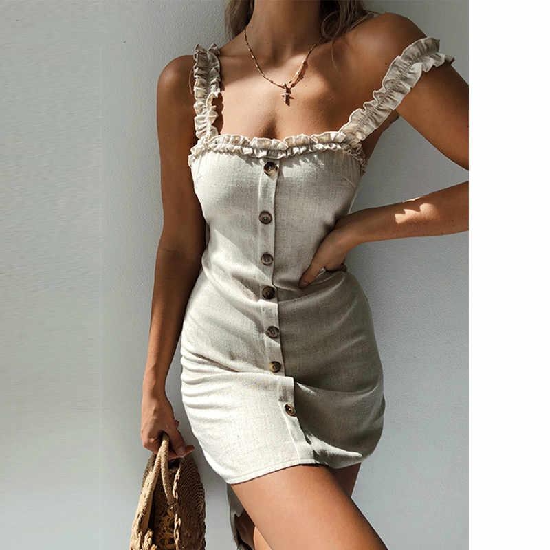 2019 Для женщин, сексуальным вырезом на спине и шнурок Кнопка тонкое Бандажное платье оборки, открытые плечи, женские Открытое платье без рукавов облегающее платье летние платья