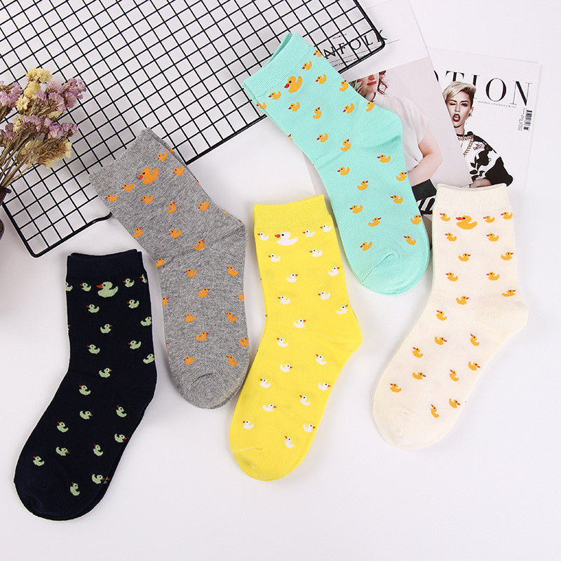 Cartoon Cute Animal Duck Pattern Socks Fashion Cute Woman Funny Socks Female Casual Cotton Middle Tube Sock Harajuku Sock