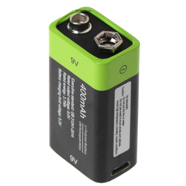 Batería Lipo 6F22 recargable por USB, 9V, 400mAh, para multímetro, micrófono, mando a distancia