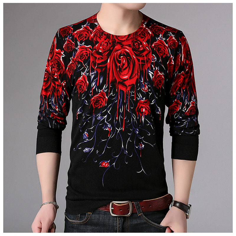 Creative 3D Rose Pattern Printing Fashion Fancy Pullover Knitted Sweater Autumn 2018 Quality Soft Comfortable Sweater Men M-XXXL