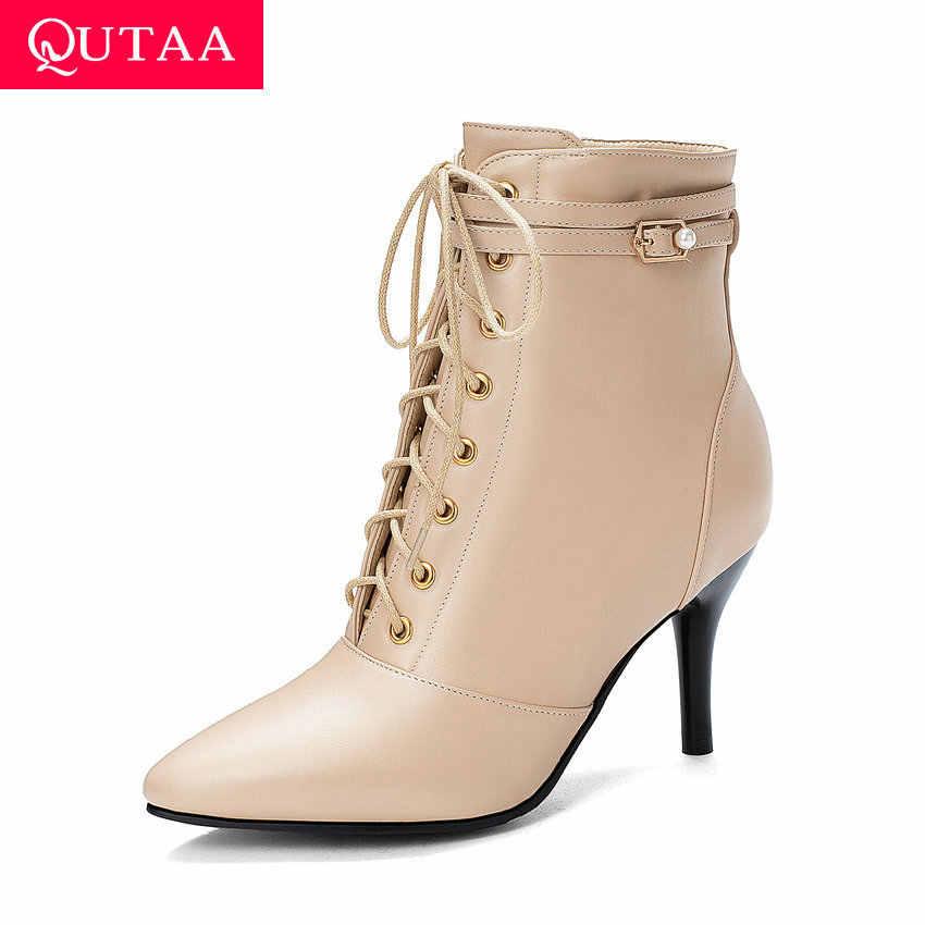 QUTAA 2020 Yeni Sonbahar Dantel Sivri Burun Moda yarım çizmeler PU Deri Ince Yüksek Topuk Fermuarlı Her Bayan Ayakkabı boyutu 34-43