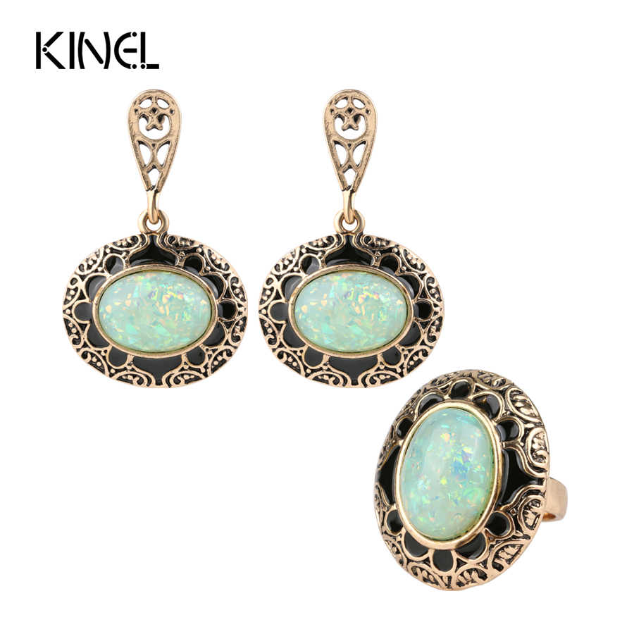 kinel Opal Ring And Earring Jewelry Set Black Enamel Antique Gold 2pc Vintage Jewelry For Women Luxury Party Gift