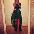Летний Стиль 2017 Мода Женщины Твердые Iregular Хем Длинные Dress Ladies Высокая Талия Длиной До Пола, Sexy Кружева Бальные Платья Vestidos