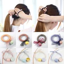 Large pearl adjustable hair rope fashion beaded ball hairband women girls rngs tie ponytail holder elastic accessory