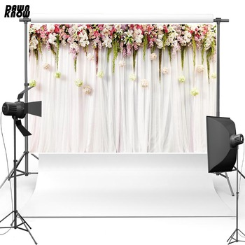 DAWNKNOW nueva tela de poliéster fotografía fondo Floral cortina de telón de fondo del vinilo para la boda estudio fotográfico lv111