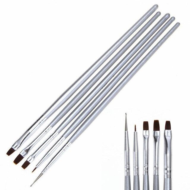 5 шт./компл. Nail Art Дизайн Живопись Рисунок Лайнер Кисти Маникюр Расставить Инструмент Pen Tool Set Комплект бесплатная доставка