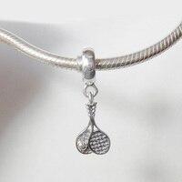 Authentic 925 Sterling Silver Bạc Tennis Dangle Mặt Dây Thể Thao Bead fit Châu Âu Hạt Charms Vòng Tay Trang Sức