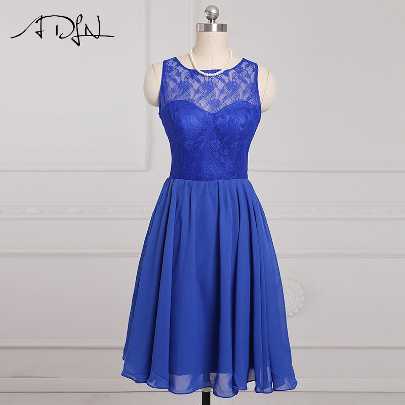 ADLN Cheap Short Bridesmaid Dresses Blue Lace A line Wedding Guest Gown Chiffon Knee length Maid