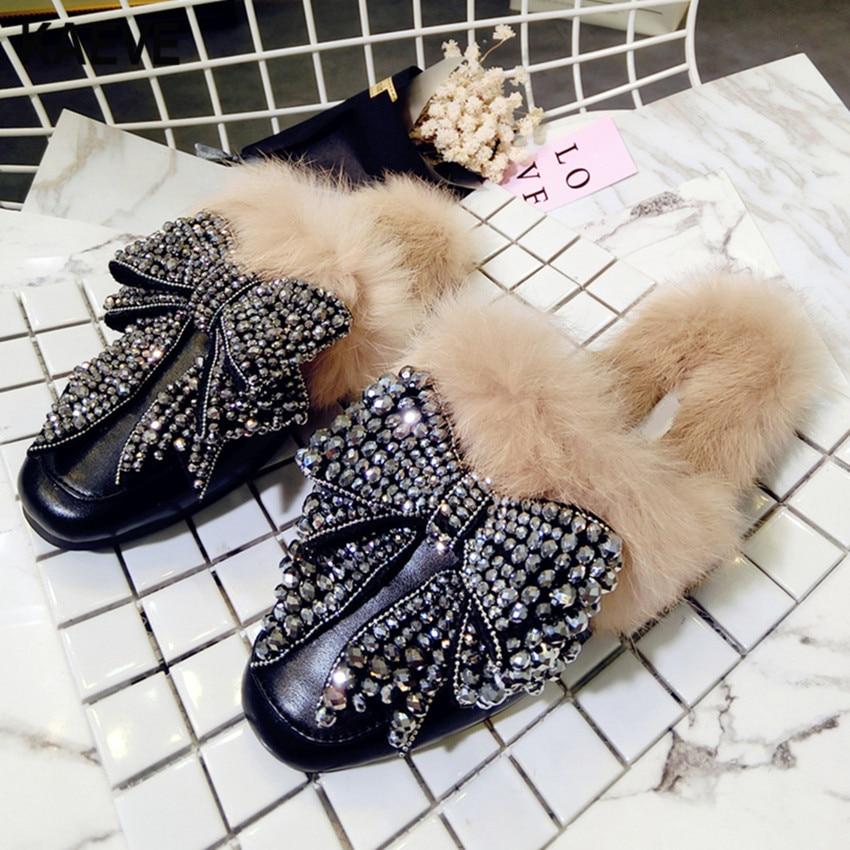 2018 Primavera Rex Rabbit Fur Donna Pantofole Scivoli Casual Bling Bling Della Farfalla Nodo Mocasines Pelliccia Tacco Piatto Sandali Caldi Nuovo