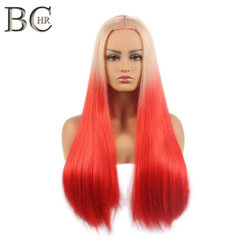 BCHR Long Straight Wig Two Tone Pink Synthetic Wigs for Women Ombre Wigs Red Pink Color Hair Free Shipping