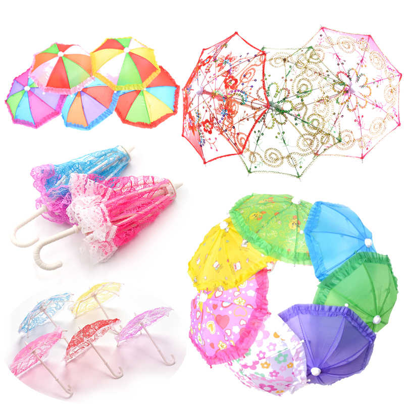 1/2pcs Birthday Gift For Children Mini Umbrella Rain Gear For 18 Inch  Baby Doll Life Journey Dolls Accessory