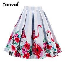 Тонвал, плиссированные юбки, женская свинг юбка с фламинго, 2017, высокая талия, роскошный рисунок в нижней части, ретро стиль, цветочная юбка средней длины