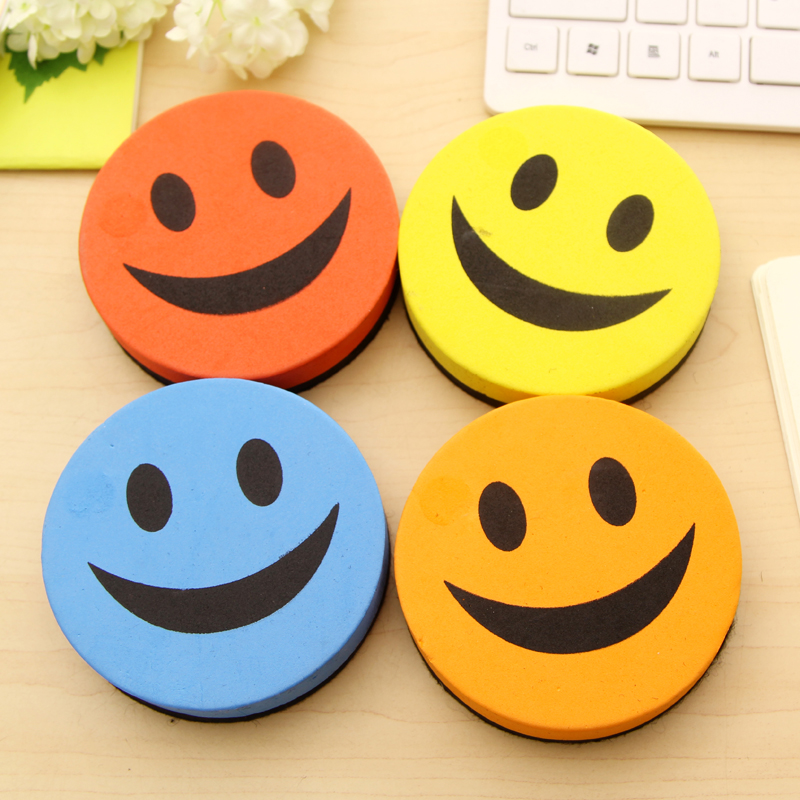 2 Pcs/Lot Cute Funny Random-Color Smiley-Face Magentic Dry Eraser & Whiteboard Eraser For School Stationery & Office Supply