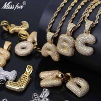 MISSFOX Hip Hop A Z Men Letter Necklace 26 Alphabet Locket Pendant Iced Out Gold/Rose Gold/Silver Nameplate Necklace No Chain
