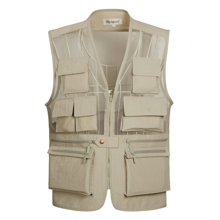 Summer New Breathable Mesh Vest Men Casual Solid Sleeveless Vest Waistcoat With Many Pockets photographer Vest Jacket XL-5XL