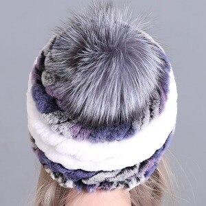 Image 3 - חורף פרווה כובע לנשים אמיתי רקס ארנב פרווה כובע עם שועל פרווה פום poms פרווה סרוג בימס 2018 חדש אופנה כובעים באיכות טובה