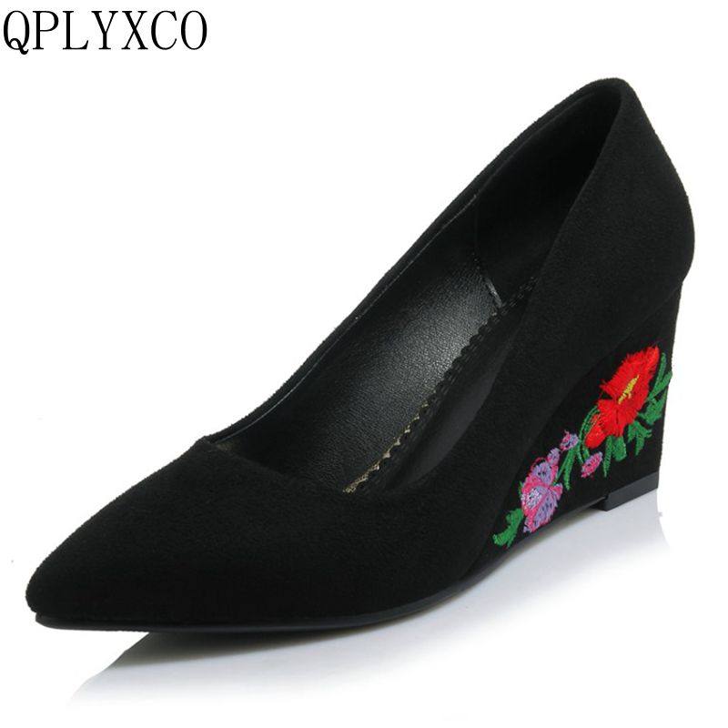 QPLYXCO Ethnic Embroidery Fashion <font><b>Women</b></font> Pumps <font><b>Size</b></font> 32-42 pointed toe High <font><b>Heels</b></font> Wedges Platform Wedding Party Shoes woman <font><b>18</b></font>-36 image