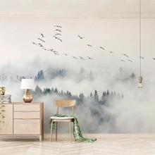 Пользовательские обои фото Настенные обои птицы сосновый лес облака стены papel де parede 3d обои папье peint