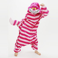 Kigurumi Pajamas Cat Chesire Cat Leotard Onesie Festival Holiday Animal Sleepwear Halloween Pink Patchwork Cora