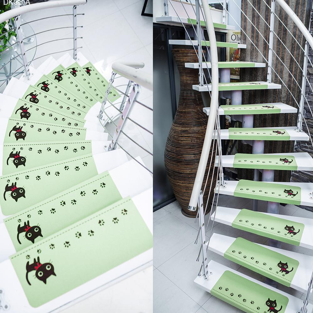 5 PCS New Home Non-slip Floor Staircase Carpets Cats Dandelion Print Claw Pattern Stair Treads Children Safety Protector Mats