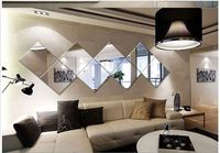 4Pcs Square Mirror Tile Wall Stickers 3D Decal Mosaic Home Room Decoration DIY For Living Room Sofa TV backdrop Mirror stickers