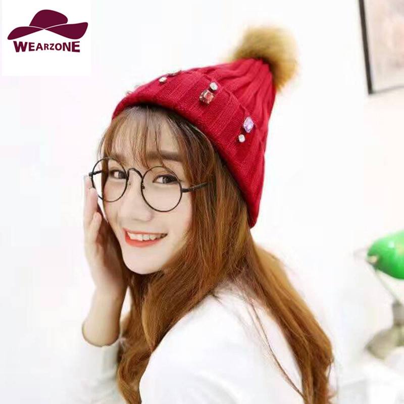 2017 new woman's hats knitting Skullies caps Faux Fur hair ball  with Rhinestones Beanies hats Beanies Rivets Decoration Pompon skullies