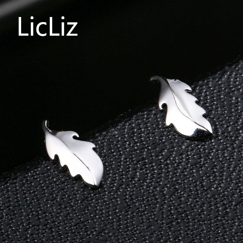 Licliz Fashion Leaf Stud Earring for Women Fashion 925 Sterling Silver Earrings Jewelry Pendientes Aretes de Mujer Moda LE0431