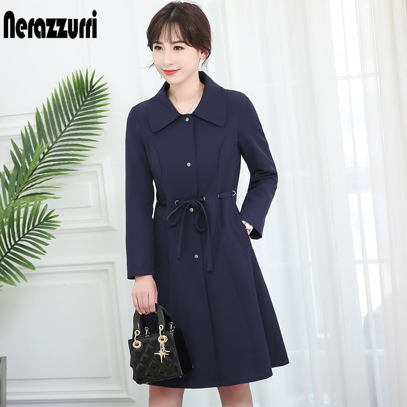 Nerazzurri spring autumn coat women navy blue sashes 2019 autumn women fashion elegant   trench   plus size long outwear 5xl 6xl 7xl