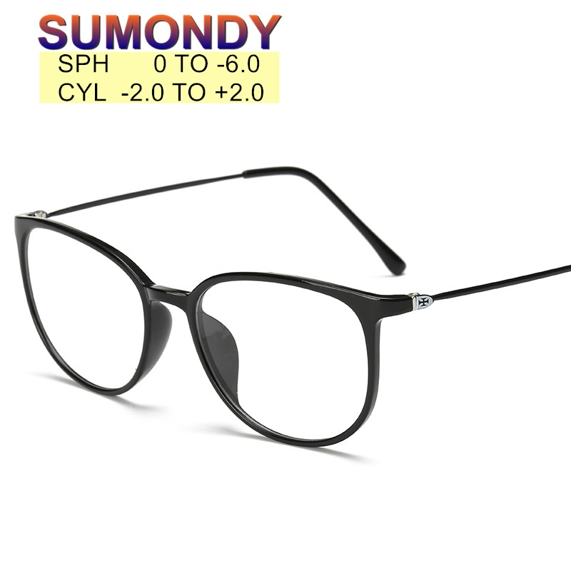 Prescription SPH 0 To -6.0 Myopia Glasses Customization Men Women Photochromic Or Anti Blue Ray Spectacles Short-sighted UP015