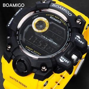 Image 2 - BOAMIGO brand UTC DST time watches raise to wake led light men digital sport military watches 50m swim waterproof rubber band