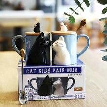330 мл высококачественная керамическая матовая стерео кошка на поцелуй пара чашка кофе чашка с кружкой для молока подарок на день Святого Валентина ложка и крышка бесплатно