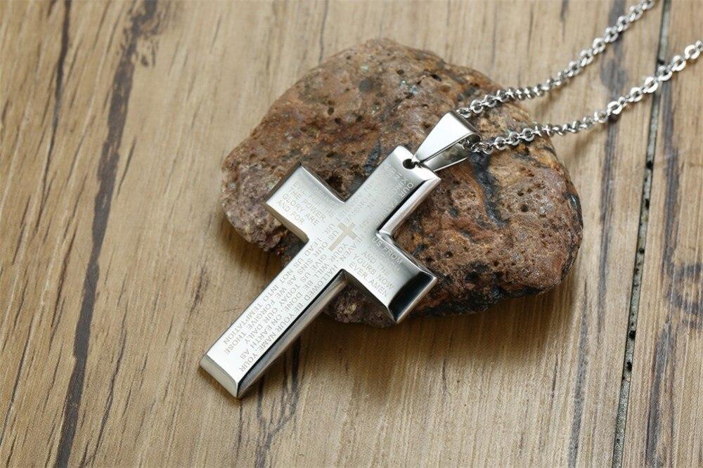 d12fb88e7782 Colgante de crucifijo cristiano para hombres de acero inoxidable ...