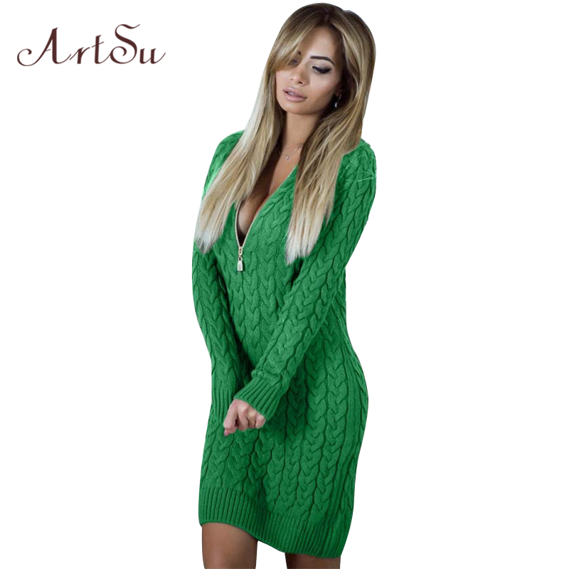 ArtSu Long Sleeve Sweater Mini Dresses Women 2018 Spring Winter Dress Knitted Zipper Up Sexy V Neck Solid Vestidos ASDR30546