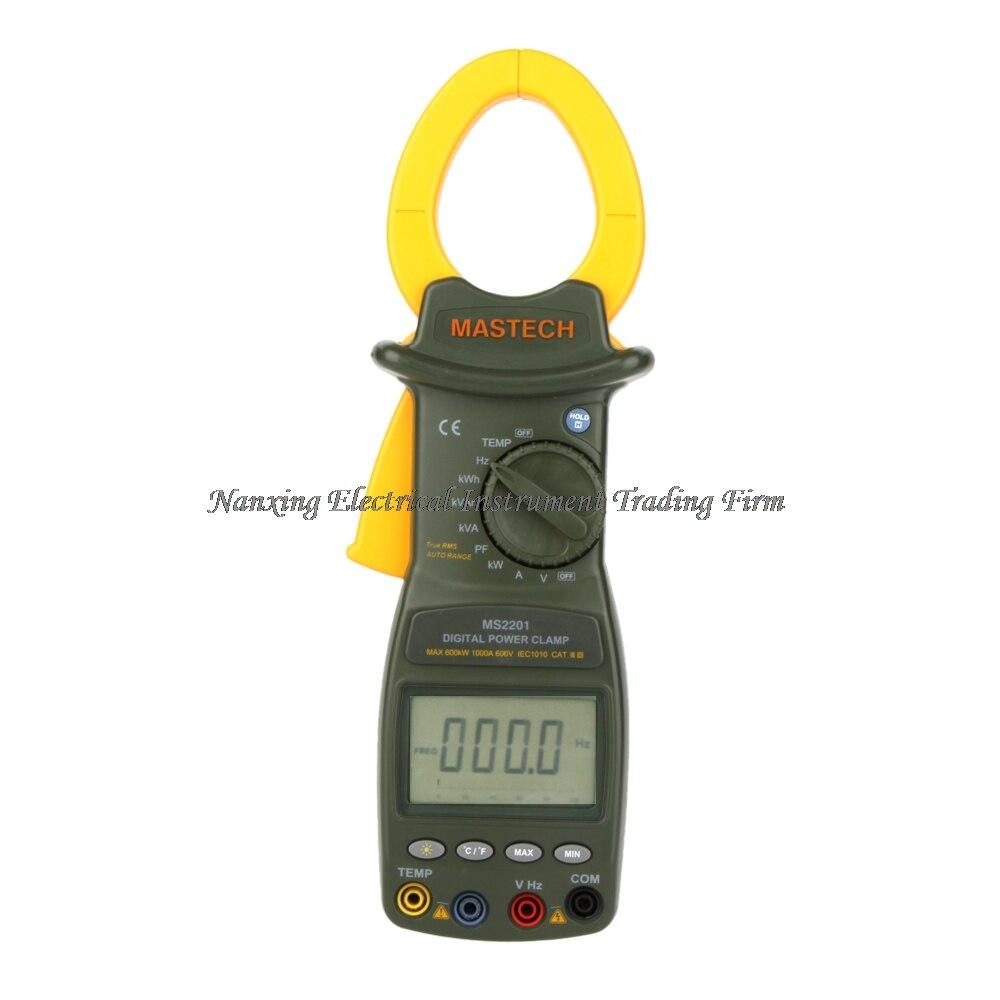 EXPEDIÇÃO RÁPIDA MASTECH MS2201 Wattímetro RMS Verdadeiro Auto Gama Digital Power Clamp Meter Fator de Potência Medidor Amperímetro Voltímetro