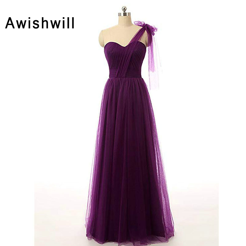 Us 92 5 26 Off Custom Size Dark Purple Wedding Guest Dress One Shoulder Tulle Lace Up Back Formal Party Long Bridesmaid Dresses In