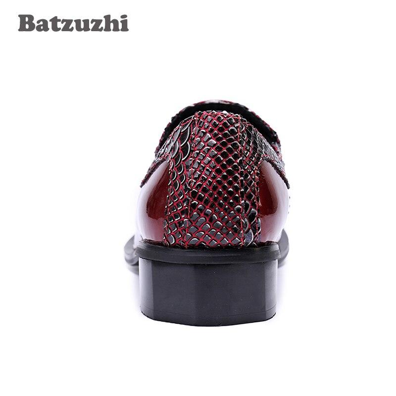 Pie Metal Rojo 46 Hombres rojo Dedo Lujo En Escalas Genuino Chaussures Para Oxford Zapatos 2018 Los Remaches Boda Del De Punta Hommes Negro Cuero Pescado Ow6nqC