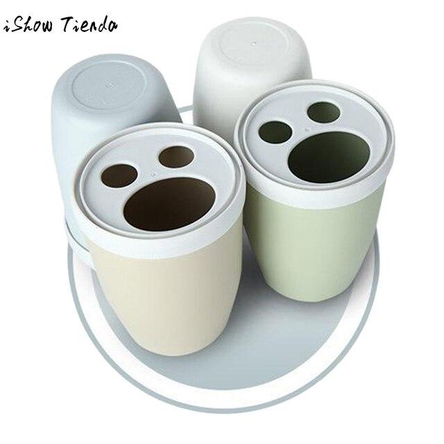 Creative Couple Toothbrush Cup Rinse Mug Holder Stand Bathroom Cute Plastic Set 8cmx8mx22cm rinsing mug