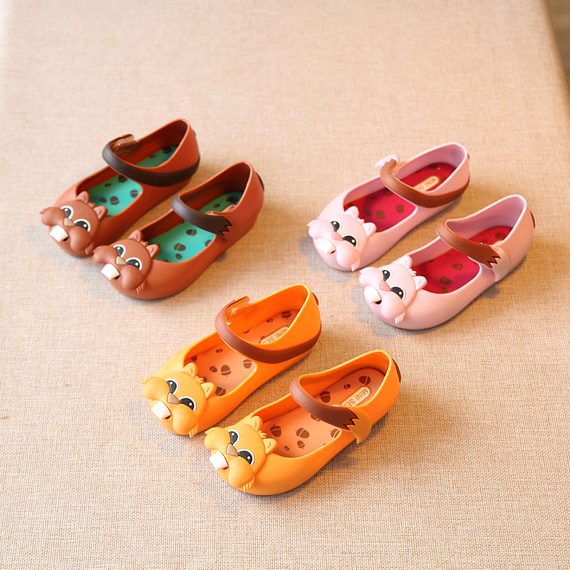Children Shoes Girls 2016 kids Girls Sandals Jelly Shoes Girl Squirrel PVC Soft Outsole Children Sandals Boys Rain Boots15-18.5
